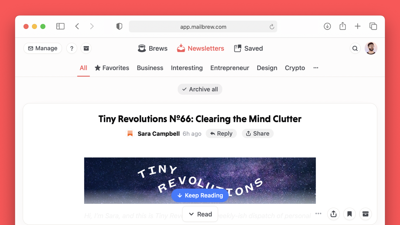 Mailbrew is the only newsletters app you need